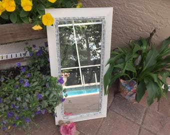 Vintage Large Ornate long White Mirror -  Old White painted - Country French - Shabby Chic mirror  FARMHOUSE CHIC