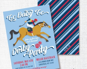 Kentucky Derby Party Invitation, Printable, Horse Race Invite, Go Baby Go, Run For The Roses, Jockey, Horse Birthday