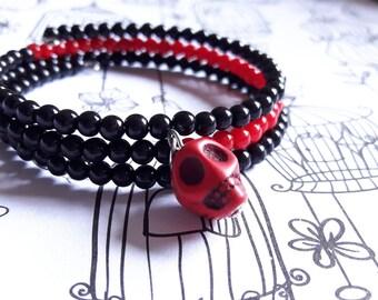 Black and Red Skull Wrap-around Bracelet.