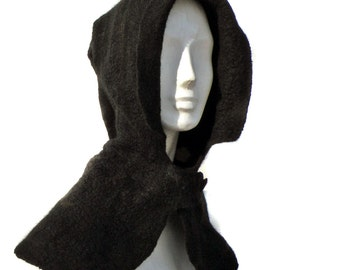 Black Hooded Capelet made of Felted Merino Wool - Gothic Hood - Medieval Style Nunofelted Hood - Felted Cowl - Elven Hood