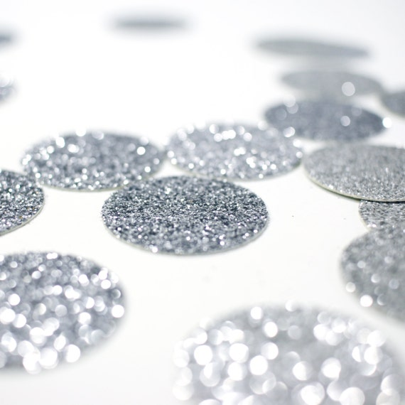 "Silver Glitter Circle Confetti - 1"" Table Decor. Wedding. Bachelorette Party. Bridal Shower. Baby Shower. Engagement. First Birthday."