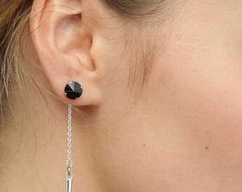 Black Swarovski Crystal Earrings, Long Silver Crystal Dangle Earrings, Long Chain Stud Earrings, Chain Drop Earrings, Silver Spike Earrings