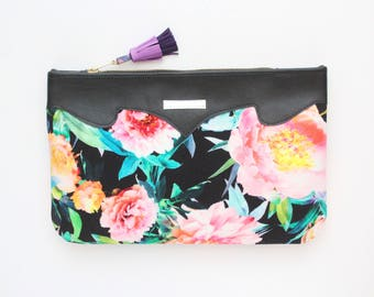 SUMMER 9 / Floral clutch bag-romantic bag-wedding purse-evening bag-small handbag-bridesmaid gift-black red pink neon purple-Ready to Ship