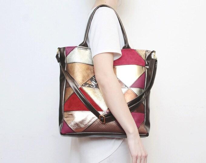 Natural leather handbag-adjustable strap tote-metallic leather bag-geometric shoulder purse-cross body tote-bronze gold red / PRISM TOTE 2