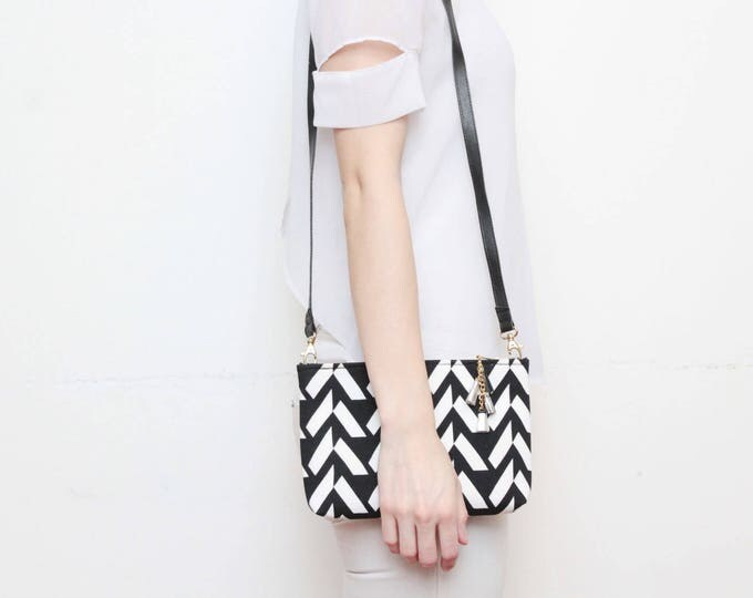 MODEST 14 /Geometric cotton purse-cross body bag-leather shoulder bag-tassel pull purse-black white monochrome-minimalist bag- Ready to Ship