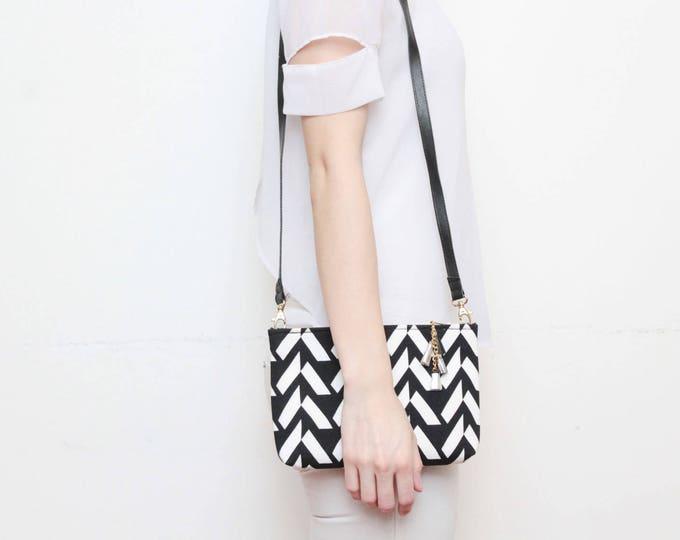 MODEST 14 /Geometric cotton purse-cross body bag-leather shoulder bag-tassel pull purse-black white monochrome-minimalist bag- Ready to Ship