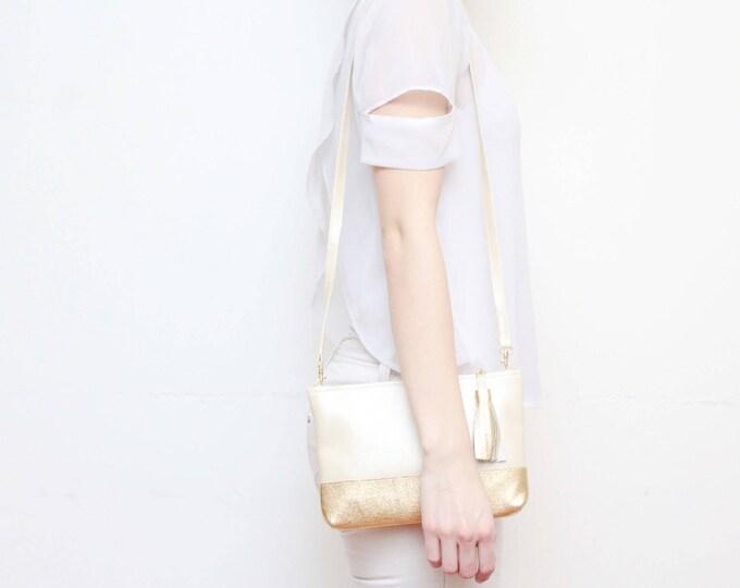 Small shoulder bag. Leather handbag. Small statement purse. Crossbody bag. Metallic natural leather. Simple bag. Beige purse. /CASUAL 2