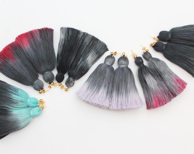 Dyed tassel earrings. Oversized earrings. Statement earrings. Tassel jewelry. Long cotton tassels. Fringe earrings. Hand colored. /FRINGY 5