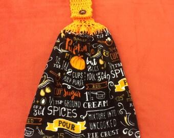 Pumpkin Pie - Hanging Kitchen Towel - Holiday -  Pumpkin Pie ingredients - Crochet top - button top