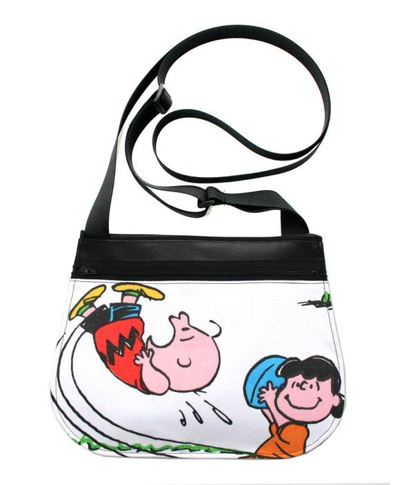 Charlie Brown, Peanuts, black vinyl, cross body, vegan leather, zipper top