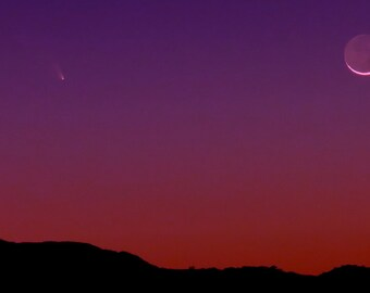 Comet Panstarrs by Catherine Roché, Astronomy, Crescent Moon, California Landscape Photography, Sunset Nature Photography, Fine Art