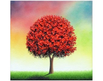 Tree Art Impasto Painting, Modern Canvas Art Landscape Painting, ORIGINAL Oil Painting, Whimsical Red Tree Painting, Multicolored Art, 8x8