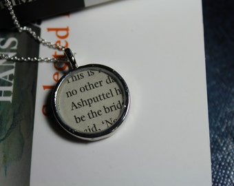 Ashputtel - Cinderella Book Page Pendant Necklace - Brother's Grimm Fairy Tale Jewelry