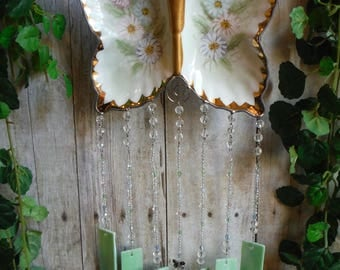 Butterfly Dish up cycled into Wind Chime with Stained Glass Chimes