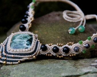 Tribal boho gypsy macrame necklace with jasper