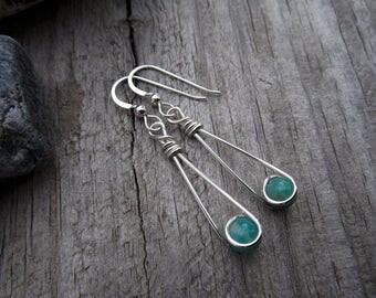 Aventurine Sterling Moon Catcher (TM) Earrings - Minimalist
