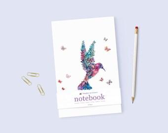 Illustrated Notebook Blank Notebook A5 Hummingbird Dream Journal Gratitude Notebook Writing Notebook Handcrafted Journal Personal Diary