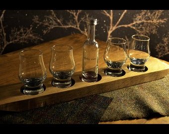 Oak Whisky Tray with 4 nosing glasses and refillable water bottle - Shot Tasting Flight Board