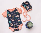 organic easter bunny baby, organic baby outfit, organic onesie set, handmade bodysuit, bunny outfit, handmade, newborn clothes, bunny outfit
