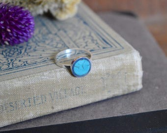 Silver and Whole Turquoise Handmade Ring - Natural Turquoise Simple Blue Green Gem Stone Minimalist Geometric Sterling Rock Powdered Circle