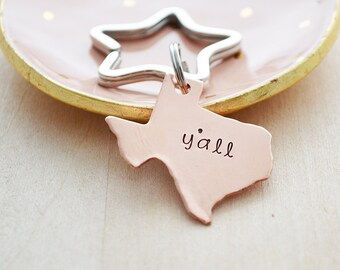Copper Y'all Keychain - Texas Keychain - Bless Your Heart - Copper Texas Key Ring