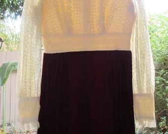 Red Velvet Maxi Dress, White Lace Long Sleeve Top, Burgundy Wine Velvet Long Skirt, True Vintage 70s Hippie Dress, Made in USA, Long Gown M
