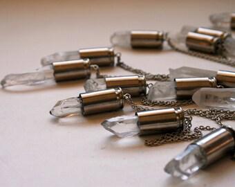 Clear Rock Quartz 45 Auto Bullet Crystal Necklace // Rough Clear White Quartz 45 Caliber Bullet Shell Necklace