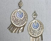 60's Sterling Silver Filigree and Enamel Earrings - Rare, Old