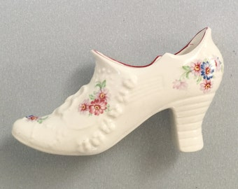Floral Melody china shoe ornament, Pottery boot, Old Foley, James Kent, Flower patterned