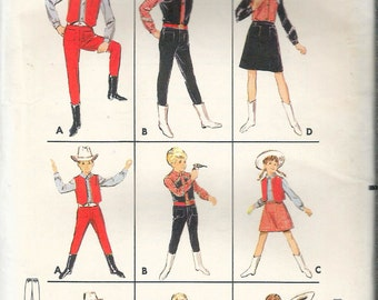 """Vintage 1965 Butterick 4148 Boy's & Girls Western Costumes Sewing Pattern Size 8 Chest or Breast 26"""" UNCUT"""