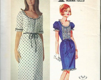 """Vintage 1960's 3941 Butterick 3941 Norma Tullo Dress in Two Lengths Sewing Pattern Size 12 Bust 32"""""""