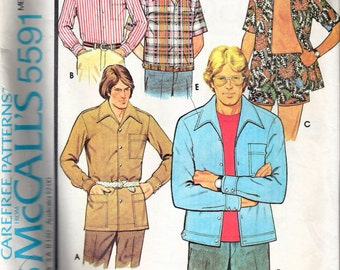 """Vintage 1977 McCall's 5591 Men's Set of Shirts & Shorts Sewing Pattern Size 40 Chest 40"""""""