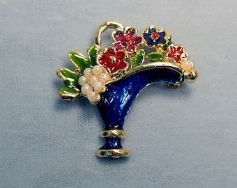 Flower Basket Vintage Brooch ~ Easter Basket ~ May Day Flowers ~ Mother's Day Bouquet - Cobalt Enamel and Seed Pearl Pin from the 1980's
