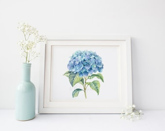 Hydrangea Decor Blue Hydrangea Wall Art Pastel Home Decor Gift For Her Delicate Watercolor Painting Whimsical