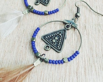 Tribal Triangle Hoop Feather Earrings- bronze findings, blue seed beads and light feathers