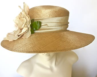 Kentucky Derby Gold Tan Hat Church Hat Gold Mother's Day Hat