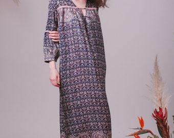 Bohemian Indian silk dress,Boho dress,Boho clothes,Hippie dress,Shirt dress,Indian dress,Paisley dress,Midi dress,Blue dress,Floral dress