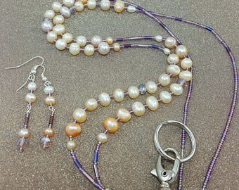 Beaded Lanyard Freshwater Pearls ~Assorted Colors~ Gift Teacher Nurse Lawyer Embassy LQEXPRESSIONS