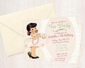 Vintage Tea Party Customizable Birthday Invitations, Cute Birthday, Girl Birthday Invitations, Tea Party Birthday, Printable Invitations