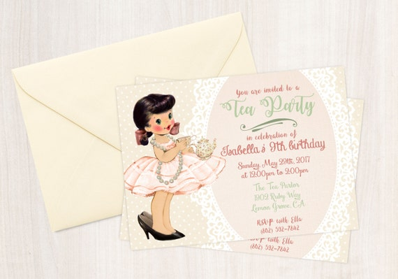 Girl Birthday Invitation Crunchy Sushi Day - Vintage girl birthday invitation