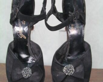 1940s Heels Vintage Platform Shoes 1940s Size 8.5