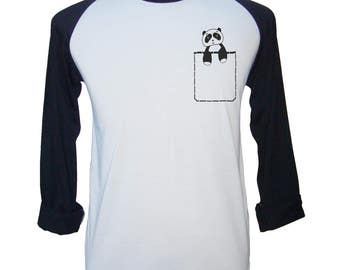 Panda Pocket Shirt Men Panda Shirt Panda Tshirt Men Panda Gifts Baseball Shirt Men Tee Shirts For Men