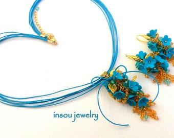 Turquoise Jewelry, Flower Jewelry, Forget Me Not, Turquoise Floral Earrings, Statement Flower Necklace, Turquoise Necklace, Women Gift