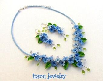 Forget Me Not, Flower Jewelry, Wedding Jewelry, Blue Jewelry, Statement Necklace, Flower Earrings, Spring Jewelry, Women Gift,Floral Jewelry