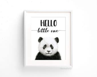 Panda Nursery Art Print Hello Little One Panda Watercolor Baby Animal Nursery Decor Jungle Safari Animal Wall Art Black and White Giclee