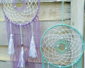 Boho Dreamcatcher baby room, nursery, pastel mint green or lilac with tassels, wallhanging homedecor