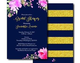 Navy & Gold Glitter Bridal Shower Invitation - Bridal Shower Invitation - Navy And Gold Glitter Invitation - Navy And Gold Glitter