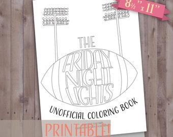 Printable Friday Night Lights Coloring Book, Coloring Pages, Friday Night Lights Printable Coloring Pages, Friday Night Lights Gift