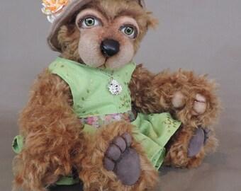 "Artist Teddy Bear, Minky, OOAK Mohair and needle felted face, collectible, handmade teddy, fully jointed, 13"" tall"
