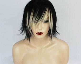 Black & Blonde Human Hair Bob Fringe Wig.